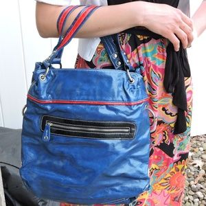 Blue and Red Chained Tote Bag